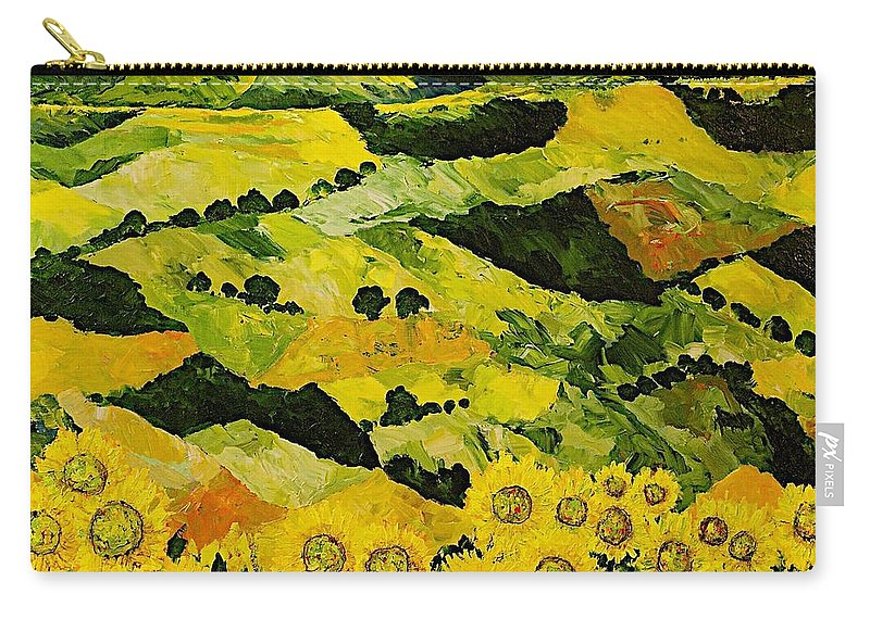 Landscape Carry-all Pouch featuring the painting Sunflowers And Sunshine by Allan P Friedlander
