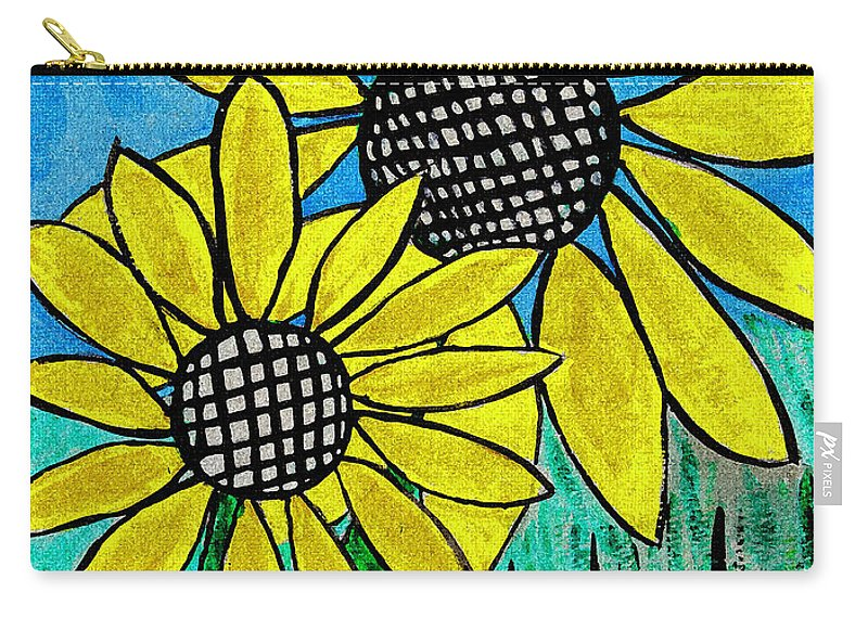 Sunflowers For Fun Carry-all Pouch featuring the photograph Sunflowers For Fun by Tom Janca