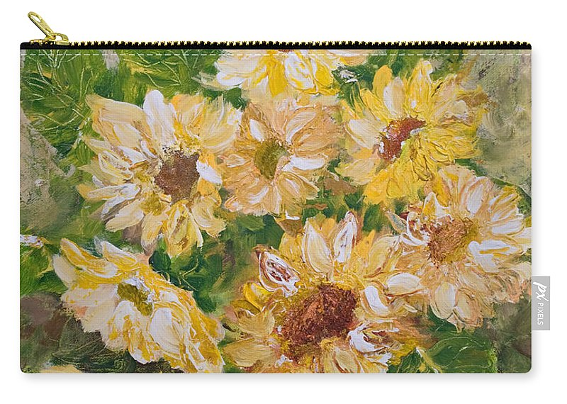 Sunflowers Carry-all Pouch featuring the painting Sunflowers Forever by Jo Smoley