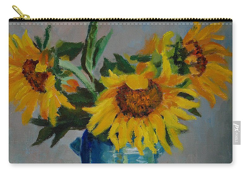Impressionism Carry-all Pouch featuring the painting Sunflowers In Blue Vase by Keith Burgess