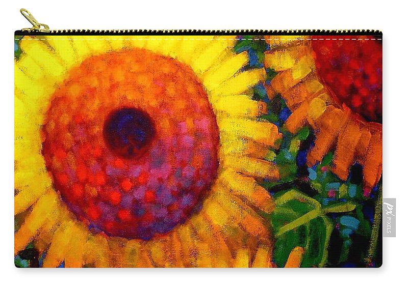 Flowers Carry-all Pouch featuring the painting Sunflowers by John Nolan