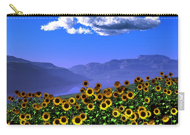Landscape Carry-all Pouch featuring the digital art Sunflowers... by Tim Fillingim