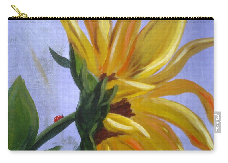 Sunflower Carry-all Pouch featuring the painting Sungloryii Detail by Rebecca Hendrix