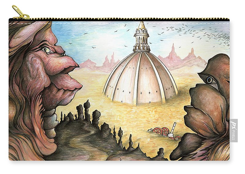 Surrealistic Carry-all Pouch featuring the painting Sunken City - Surrealistic Art by Peter Potter