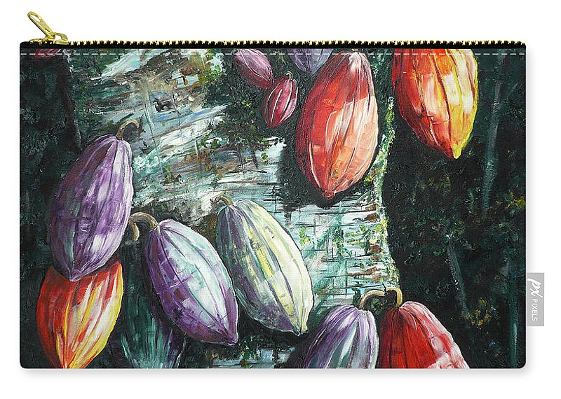 Caribbean Paintings Cocoa Fruit Paintings Tree Paintings Cocoa Paintings Chocolate Tree Paintings  Fruit Pods Paintings  Tropical Paintings Greeting Card Paintings Canvas Prints Paintings Poster Print Paintings  Carry-all Pouch featuring the painting Sunlight And Chocolate by Karin Dawn Kelshall- Best