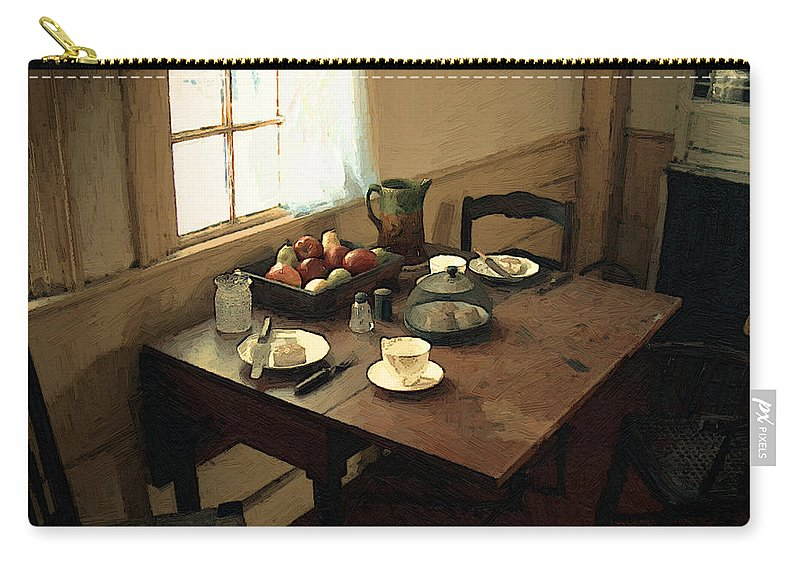 Still Life Carry-all Pouch featuring the painting Sunlight On Dining Table by RC DeWinter