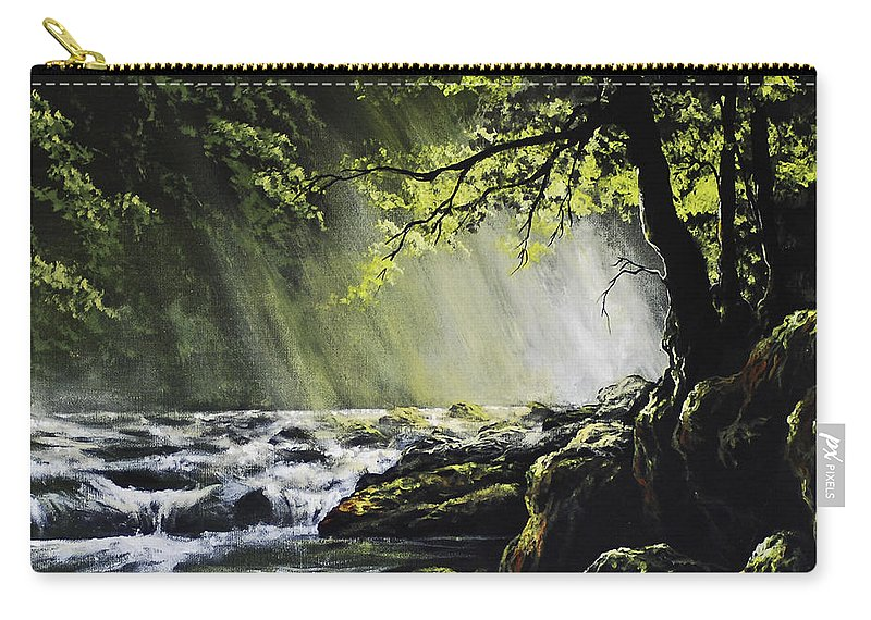 Waterfall Carry-all Pouch featuring the painting Sunlit Dream by Marco Antonio Aguilar