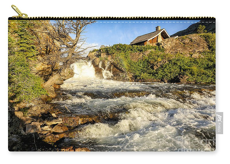 Glacier Carry-all Pouch featuring the photograph Sunlit Rapids In Glacier by Timothy Hacker