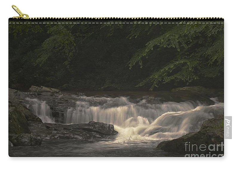 Waterfall Print Carry-all Pouch featuring the photograph Early Morning Sunlit Waterfall by Deborah M Rinaldi