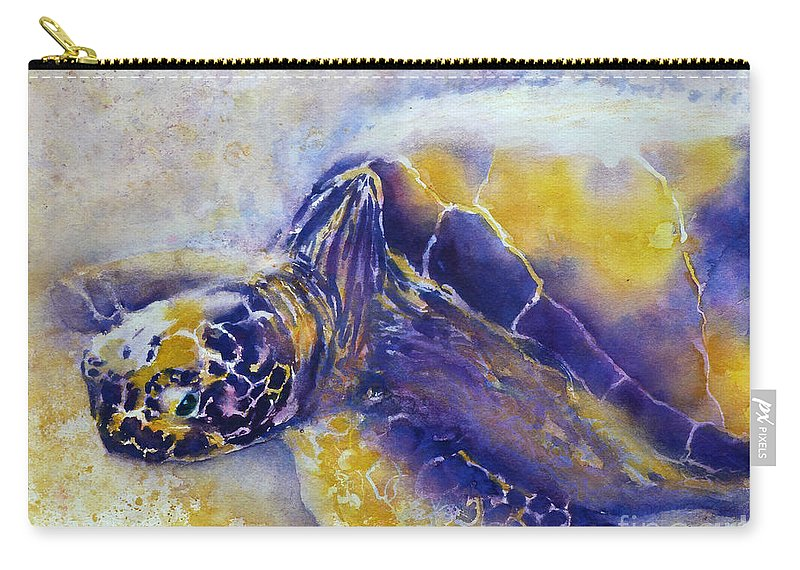 Turtle Carry-all Pouch featuring the painting Sunning Turtle by Carolyn Jarvis
