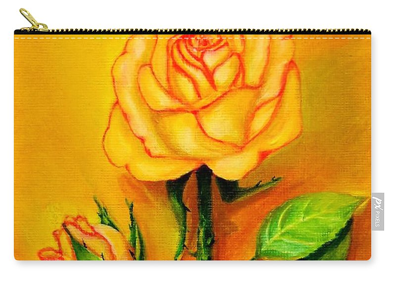 Rose Carry-all Pouch featuring the painting Sunny Rose by Zina Stromberg