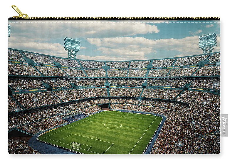 Event Carry-all Pouch featuring the photograph Sunny Soccer Stadium Panorama by Dmytro Aksonov