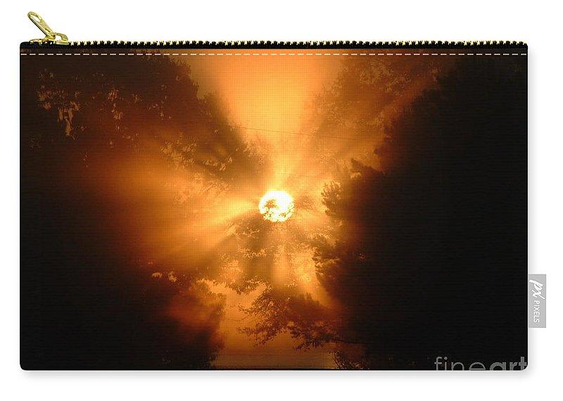 Reid Callaway Sunrise Carry-all Pouch featuring the photograph Sunrays Sunrise On Lake Oconee by Reid Callaway