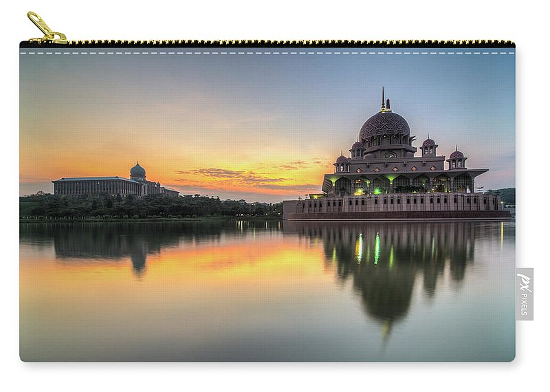 Tranquility Carry-all Pouch featuring the photograph Sunrise   Masjid Putra, Putrajaya   Hdr by Mohamad Zaidi Photography