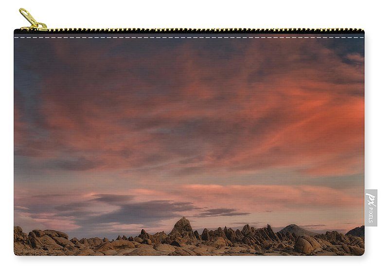 Sunrise Carry-all Pouch featuring the photograph Sunrise Alabama Hills Near Lone Pine Ca Mg 0619 by Greg Kluempers