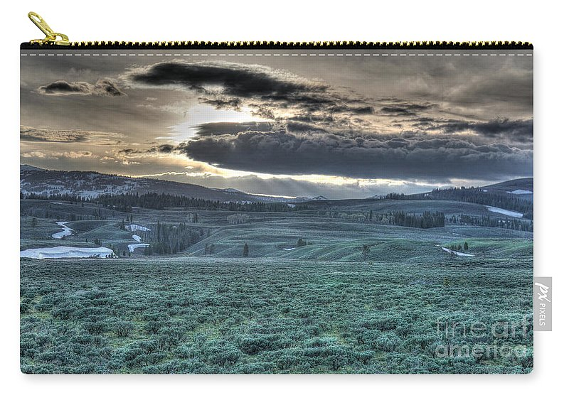 Yellowstone Carry-all Pouch featuring the photograph Sunrise At A Small Pond In Yellowstone by Bill Gabbert
