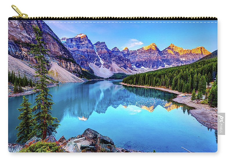 Tranquility Carry-all Pouch featuring the photograph Sunrise At Moraine Lake by Wan Ru Chen