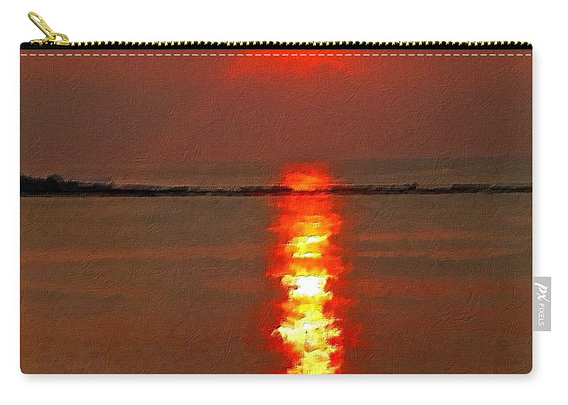 Atlantic City Beach Carry-all Pouch featuring the painting Sunrise Atlantic City by Joan Reese