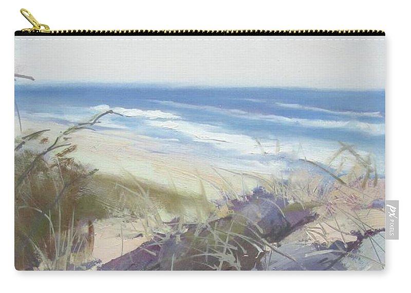 Seascape Carry-all Pouch featuring the painting Sunrise Beach Dunes Sunshine Coast Qld Australia by Chris Hobel
