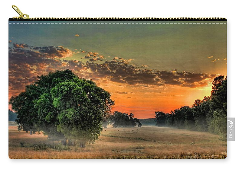 Sunrise Carry-all Pouch featuring the photograph Sunrise Fog by Reid Callaway
