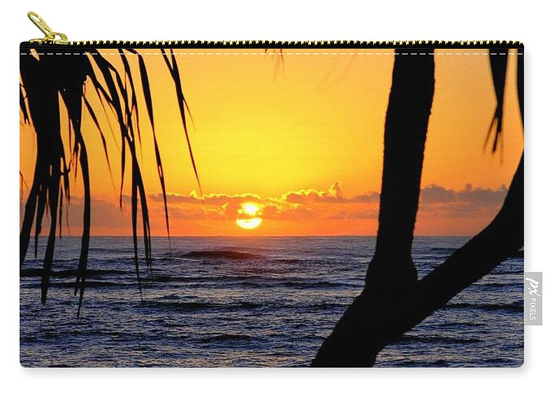 Seascape Carry-all Pouch featuring the photograph Sunrise Fuji Beach Kauai by Mary Deal