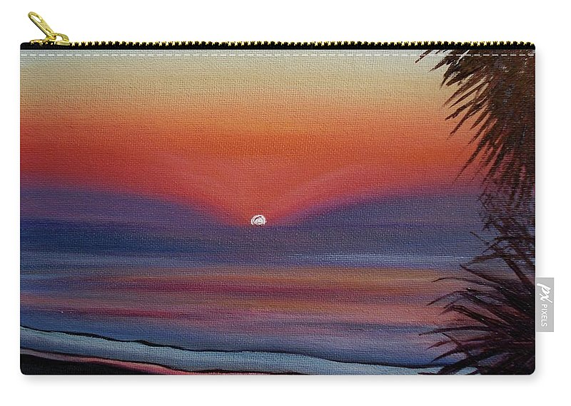 Beach Carry-all Pouch featuring the painting Sunrise Glow by Donna Tuten