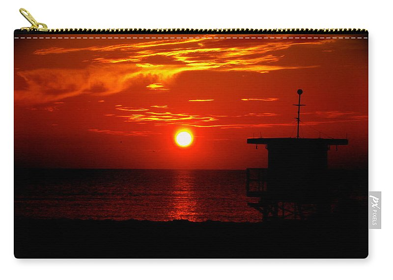 Sunrise Print Carry-all Pouch featuring the photograph Sunrise In Miami Beach by Monique's Fine Art