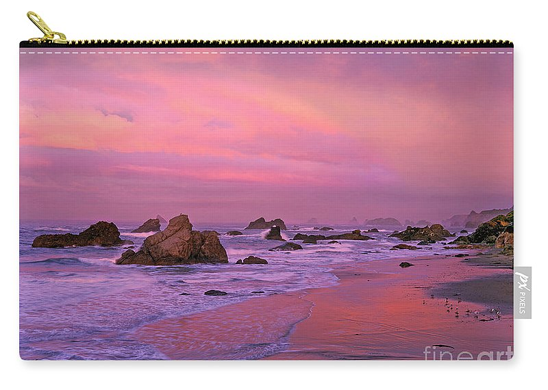 Oregon Carry-all Pouch featuring the photograph Sunrise On Sea Stacks Harris Sb Oregon by Dave Welling