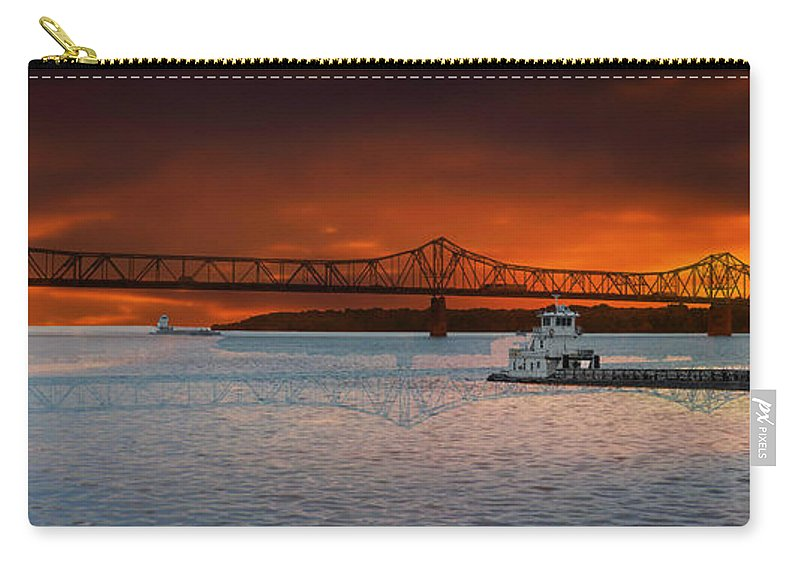Peoria Carry-all Pouch featuring the photograph Sunrise On The Illinois River by Thomas Woolworth