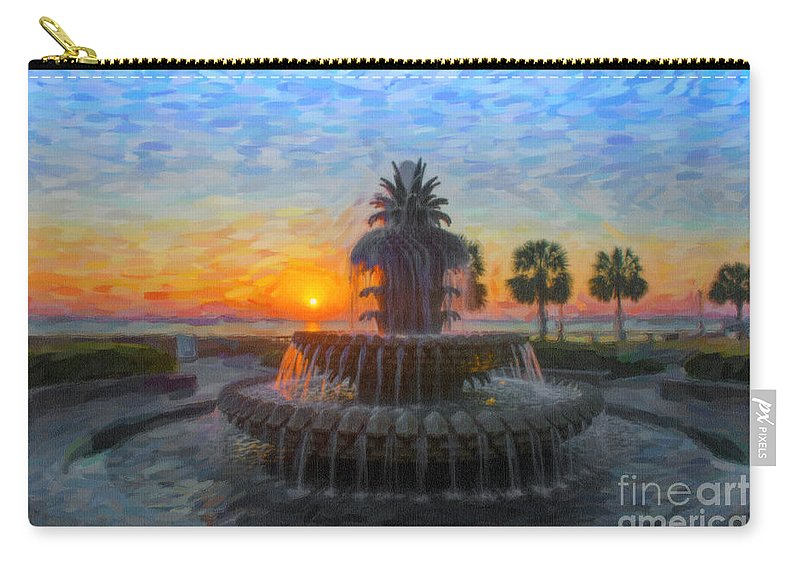 Pineapple Fountain Carry-all Pouch featuring the digital art Sunrise Over The Pineapple by Dale Powell