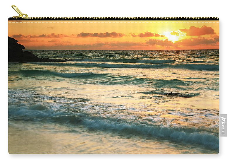 Sunrise Carry-all Pouch featuring the photograph Sunrise Seascape Tulum Mexico by Roupen Baker