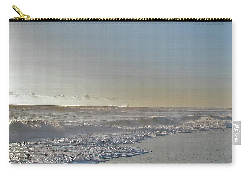 Sunrise Carry-all Pouch featuring the photograph Sunrise Surf - Island Beach State Park Nj by Mother Nature