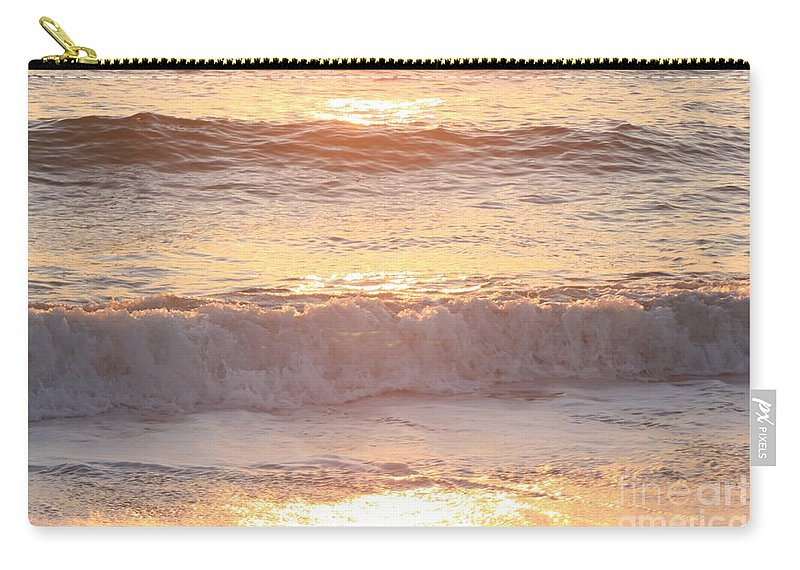 Waves Carry-all Pouch featuring the photograph Sunrise Waves by Nadine Rippelmeyer