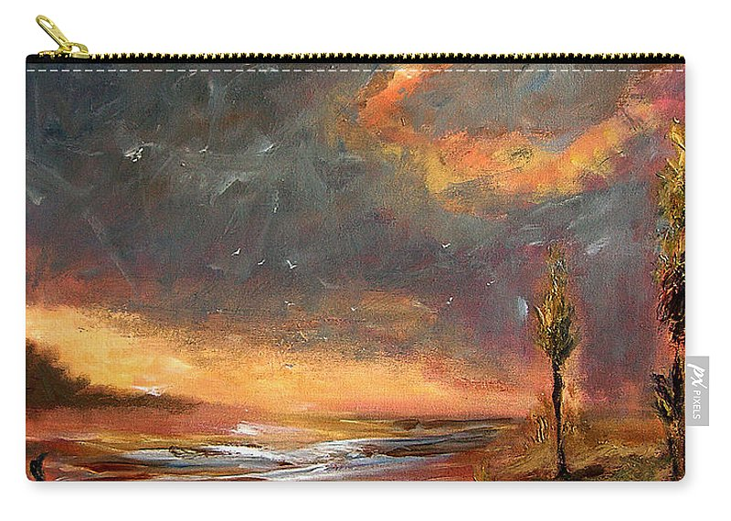 Original Carry-all Pouch featuring the painting Sunrise With Birds by Julianne Felton