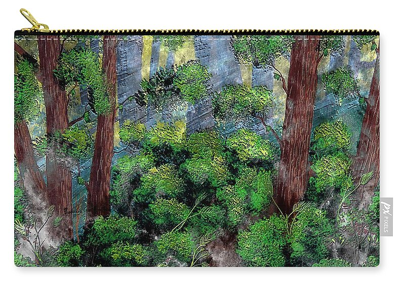 Suns Rays - Forest - Steel Engraving Carry-all Pouch featuring the painting Suns Rays - Forest - Steel Engraving by Barbara Griffin