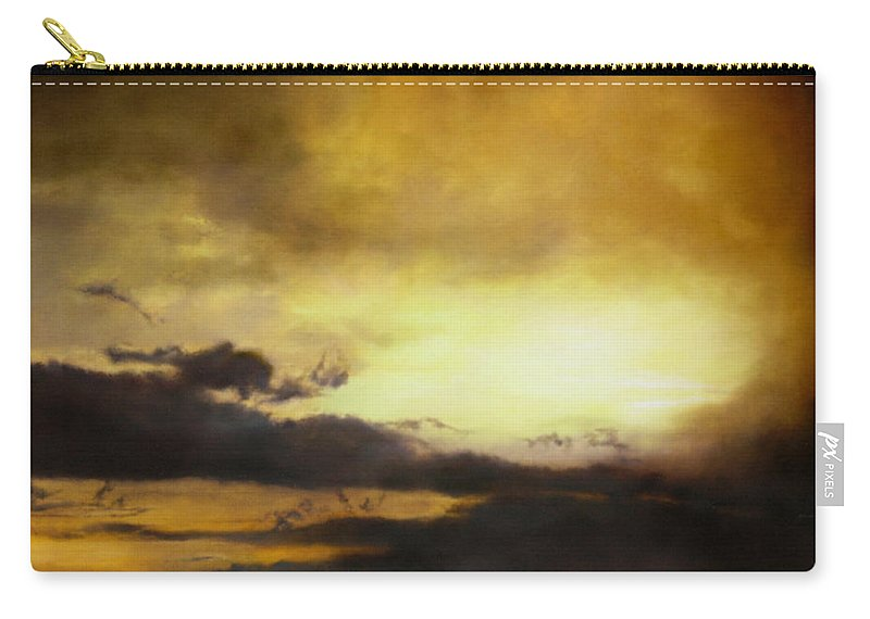Sunset Carry-all Pouch featuring the painting Pouzol Sunset 92 X 122cm by Thomas Darnell
