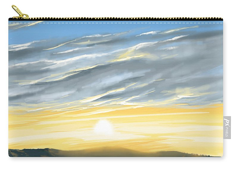 Sunset Carry-all Pouch featuring the painting Sunset Above The Hill by Veronica Minozzi