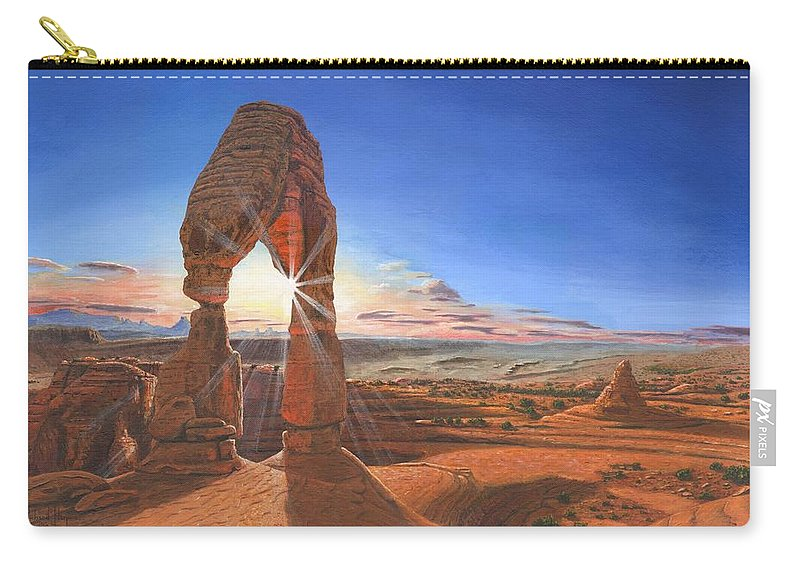 Delicate Arch Carry-all Pouch featuring the painting Sunset At Delicate Arch Utah by Richard Harpum