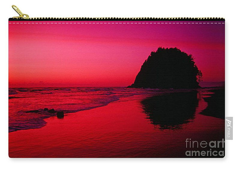Beach Carry-all Pouch featuring the photograph Sunset At Neskowin Beach- Proposal Rock by Rick Bures