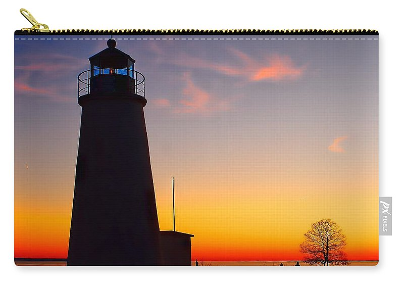 Lighthouse Carry-all Pouch featuring the photograph Turkey Point At Sunset by Nick Zelinsky