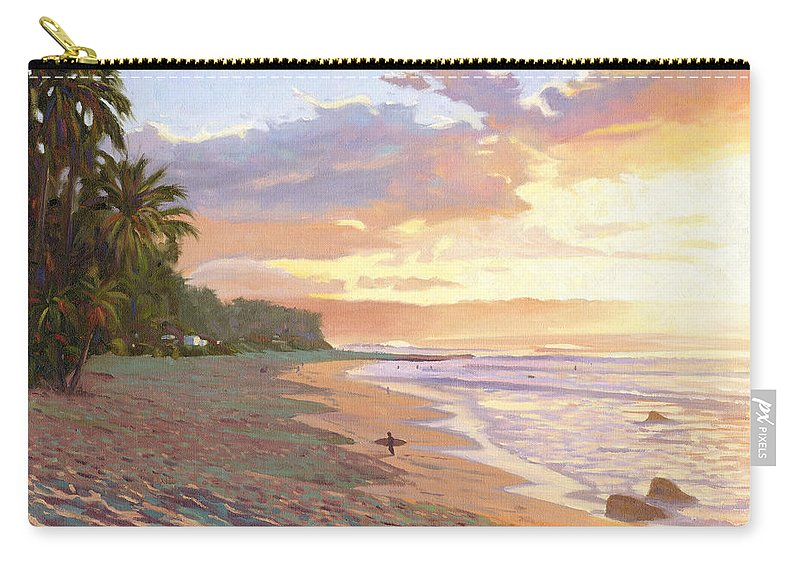 Sunset Beach Carry-all Pouch featuring the painting Sunset Beach - Oahu by Steve Simon