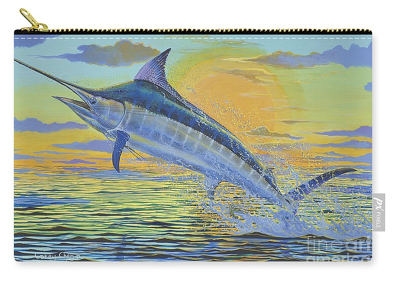 Blue Marlin Carry-all Pouch featuring the painting Sunset Blue Off0085 by Carey Chen