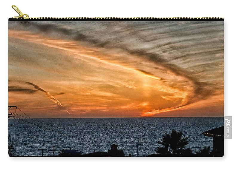 Sunset Sky Blue Orange Ocean Water California Beach Cloudy Evening Carry-all Pouch featuring the photograph Sunset Blues by Cat Connor