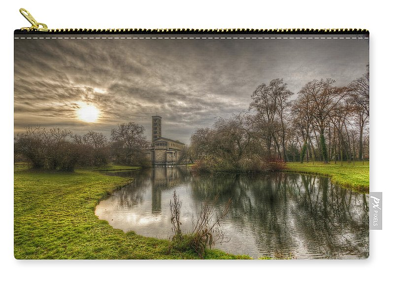Antique Carry-all Pouch featuring the digital art Sunset Church Of Peace by Nathan Wright
