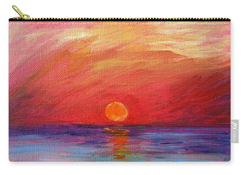Sunset Carry-all Pouch featuring the painting Sunset Delaware Bay by Marita McVeigh