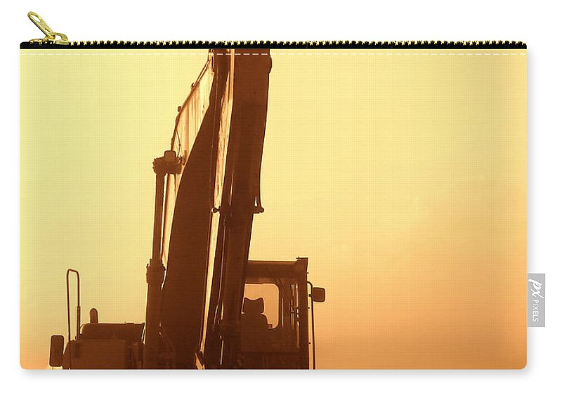 Excavator Carry-all Pouch featuring the photograph Sunset Excavator by Olivier Le Queinec