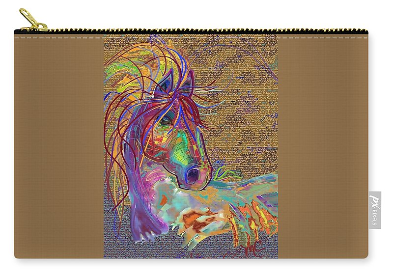 Horse Carry-all Pouch featuring the painting Sunset Flash by Marie Clark