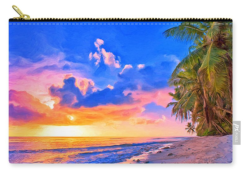 Beach Carry-all Pouch featuring the painting Sunset Glow On The Kona Coast by Dominic Piperata