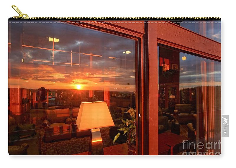 Mckeever Lodge Sunset Carry-all Pouch featuring the photograph Sunset In The Lobby by Adam Jewell