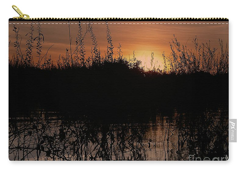 Brazil Carry-all Pouch featuring the digital art Sunset In The Pantenal by Carol Ailles